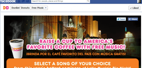 Dunkin' Donuts Facebook fans can celebrate Latin music's big night with a complimentary music download of the hottest tracks from this year's nominees through partnership with Universal